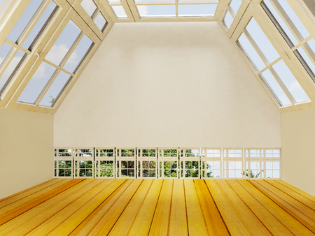 architectural styles: nice empty room, 3d rendering