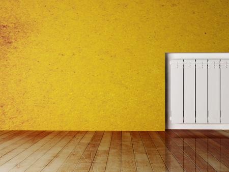 feature: radiator in an empty room, 3d rendering