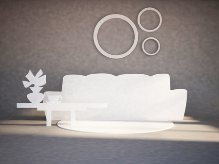 drawing room: funny flat furniture in the interior, 3d rendering