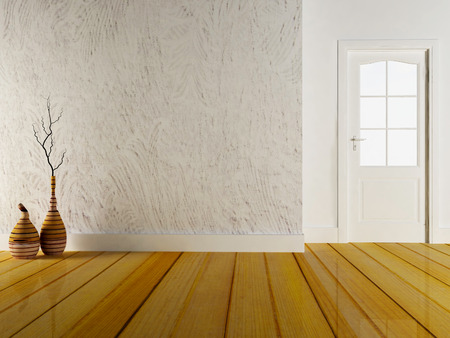 front view: two wooden vases and the door, 3d rendering Stock Photo