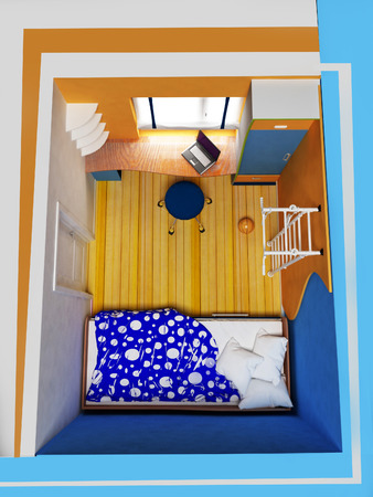 plan view: childrens room, top view, abstraction, 3d rendering