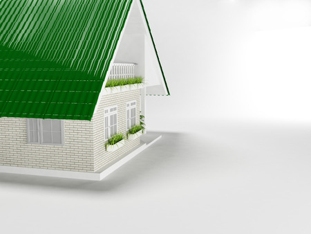 nice house: nice house with green roof, 3d rendering