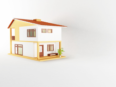 big windows: nice house with big windows, 3d rendering Stock Photo