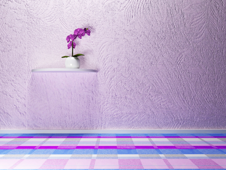 single shelf: Orchid on the shelf, 3d rendering