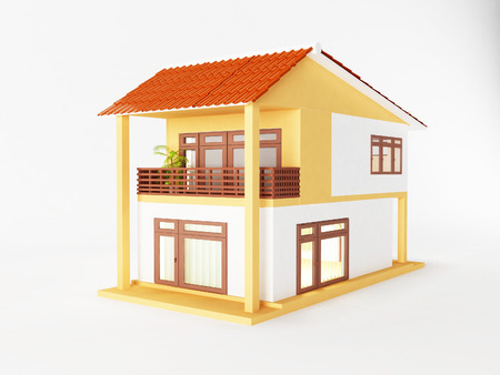 nice house: nice house with big windows, 3d rendering Stock Photo