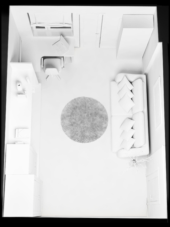 directly above: room, top view, 3d rendering