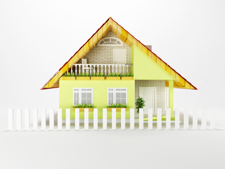 nice house: a nice house on a white background, 3d rendering