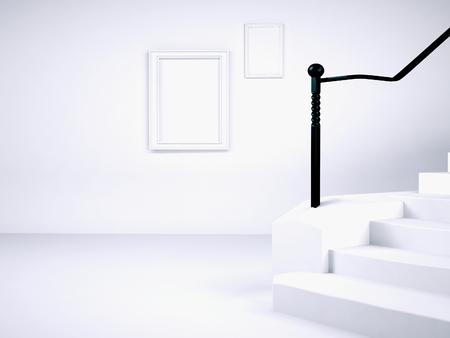 staircase: a fragment of the room with the stairs, 3d rendering