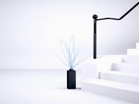 vaso vicino alle scale, rendering 3d