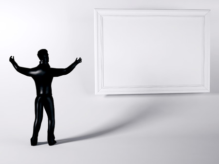 single man: man near the billboart, 3d rendering Stock Photo