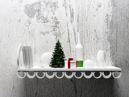 christmas objects: Christmas tree on the shelf with different objects, 3d rendering Stock Photo
