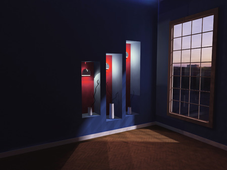 niches: three vases in the niches, evening, 3d rendering