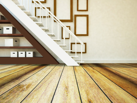 carpet flooring: the stairs in the interior, the storage system, 3d rendering