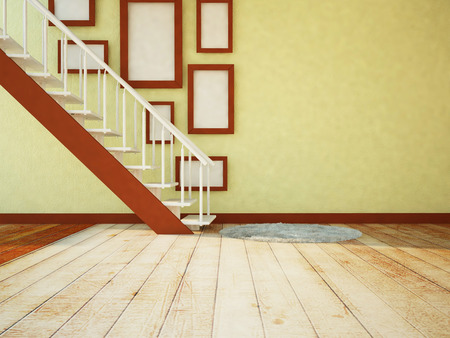 features: pictures under the stairs, 3d rendering Stock Photo