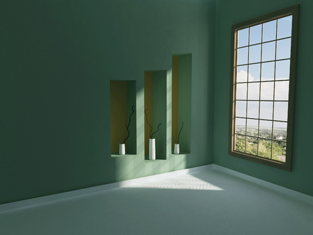 niches: three vases in the niches, 3d rendering