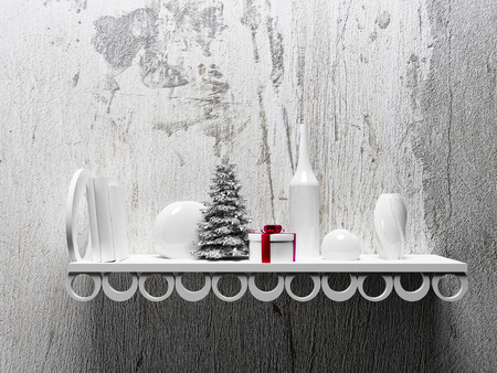 wall: Christmas tree on the shelf with different objects, 3d rendering Stock Photo