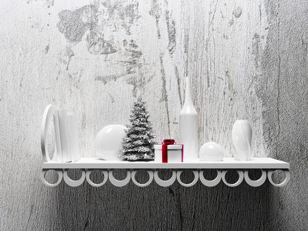 estanterias: el árbol de navidad en el estante con diferentes objetos, la representación 3d Foto de archivo