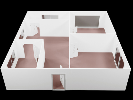 bright: the empty apartment, a plan, 3d rendering Stock Photo