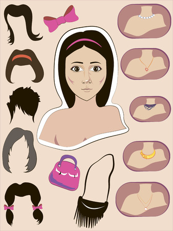 handbags: different variants of hairstyles, jewelry and handbags, vector graphic
