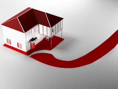 red roof: a beautiful  house with red roof, 3d rendering
