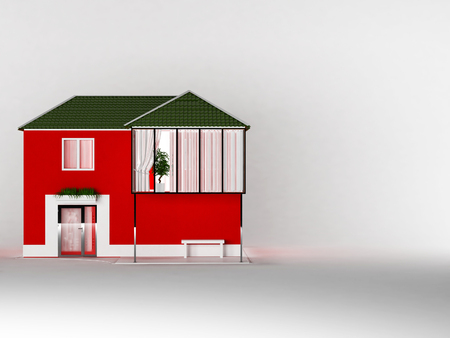 green roof: a beautiful  house with a green roof, 3d rendering