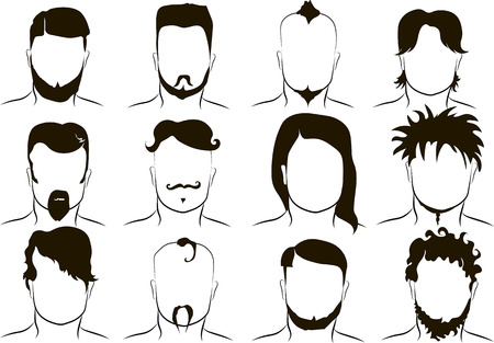 black fashion model: mens fashion hairstyles, vector grafic