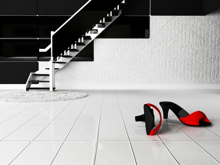 contrast: shoes on the white floor, 3d rendering