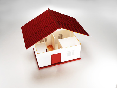 nice house: nice house with the red roof, 3d rendering