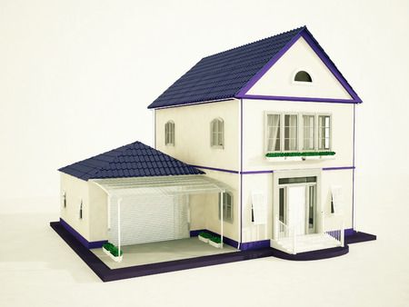 tile roof: a beautiful mansion with a violet roof, 3d rendering