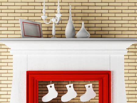 christmas room: Christmas  composition in the room, 3d rendering