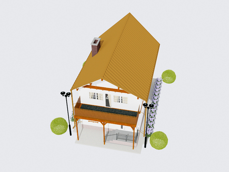nice house: nice house, top view, 3d rendering Stock Photo
