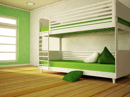 bunk bed: bunk bed near the window, part of the bedroom, 3d rendering