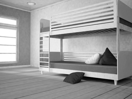 domestic room: bunk bed near the window, part of the bedroom, 3d rendering