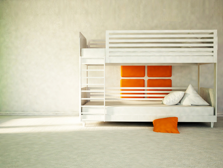 bunk: white bunk bed,  part of the bedroom, 3d rendering