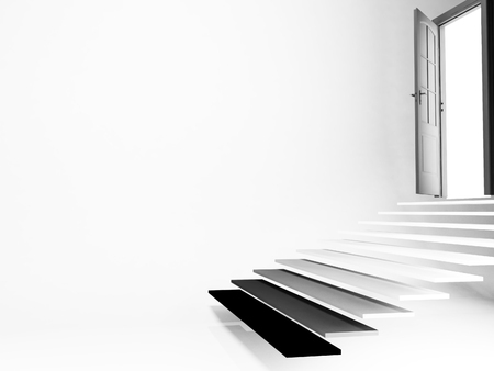 three dimensional accessibility: open door, stairs, empty room, 3d rendering