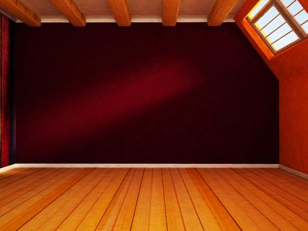 attic: empty room, window, attic, 3d rendering Stock Photo