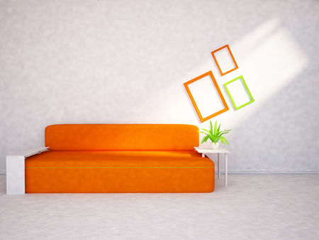 color image creativity: modern sofa in the  room, 3d rendering