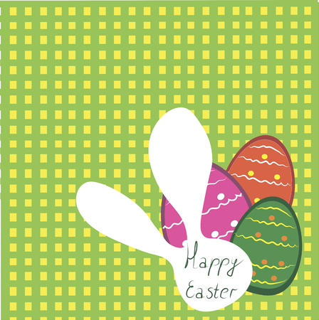 small group of animal: funny greeting cards for Easter, bunny and eggs