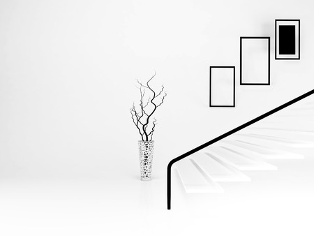 staircase: vase in the room, 3d rendering
