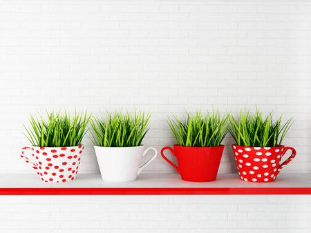 tazze con l'erba sulla mensola, rendering 3d