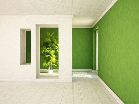 niches: empty room with a door and the niches, a plant, 3d rendering