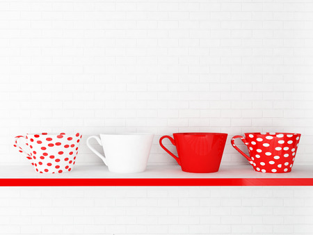 features: nice cups on the shelf, 3d rendering Stock Photo