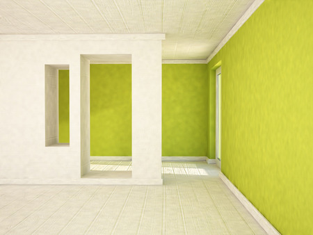 niches: empty room with a door and the niches, 3d rendering