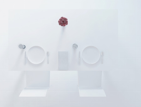 wine red: top view, plates, vase and the spoons on the table, 3d rendering Stock Photo