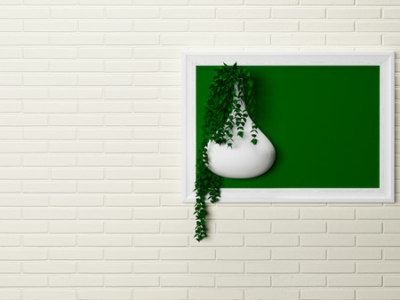 features: creative decor on the wall, 3d rendering Stock Photo