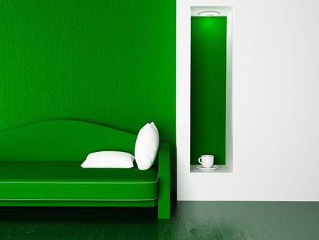 modern sofa in the room, 3d rendering Stock fotó - 56330300