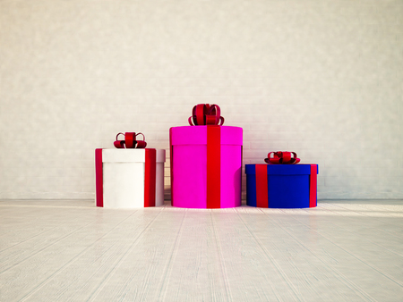 pretty s shiny: three gifts on the floor, 3d rendering