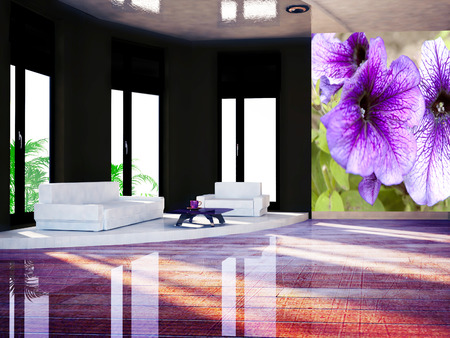 violet residential: sofa in the room, 3d rendering Stock Photo