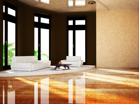 wall design: sofa in the room, 3d rendering Stock Photo
