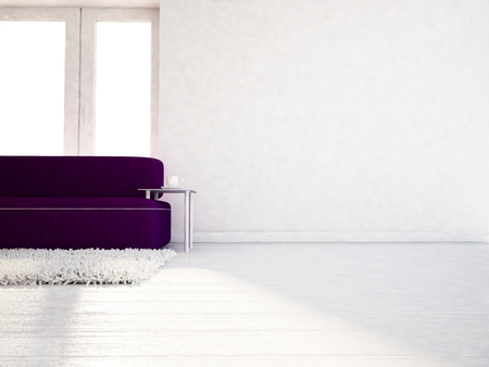 room wall: modern sofa  in the room, 3d rendering
